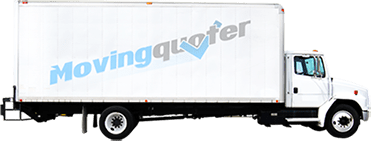 White moving truck with with moving quote logo